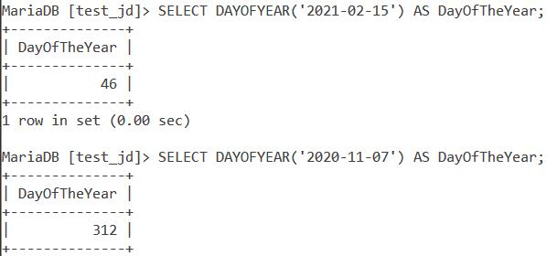 MySQL Dayofyear Basic Example
