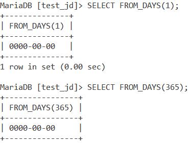 MySQL FROM_DAYS()