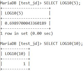 MySQL LOG10 Basic Example