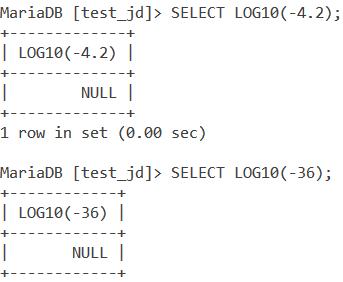 MySQL LOG10 Negative Value