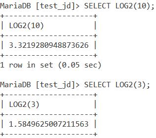 MySQL LOG2 Basic Example