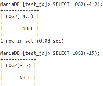 MySQL LOG2 Negative Value