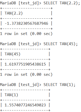 MySQL TAN Basic Example