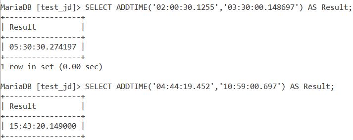 MySQL ADDTIME Fsp