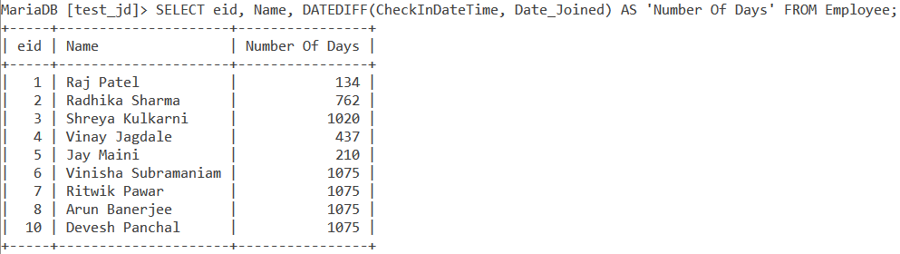 Datediff Table Example