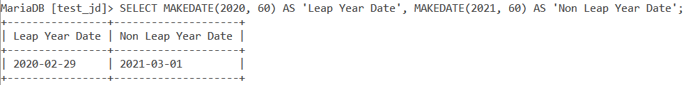 Makedate Leap Year