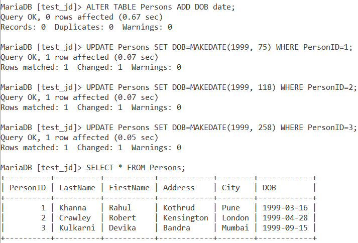 Makedate Table Example