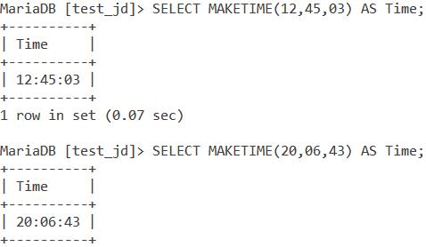 MySQL MAKETIME Basic Examples