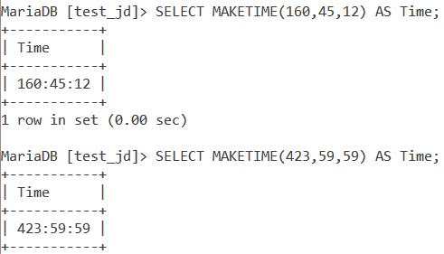 MySQL MAKETIME Large Values