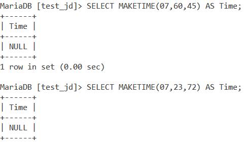 MySQL MAKETIME Wrong Values