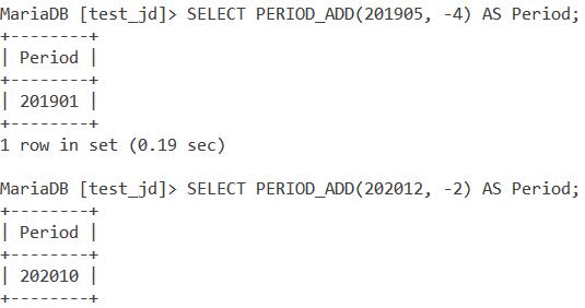 MySQL PERIOD_ADD Negative Values