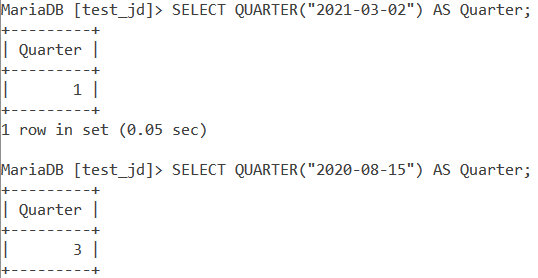 MySQL QUARTER Basic Examples