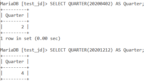 MySQL QUARTER Numeric