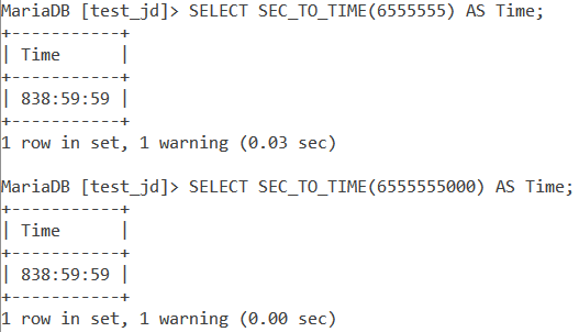 MySQL SEC_TO_TIME Limitation