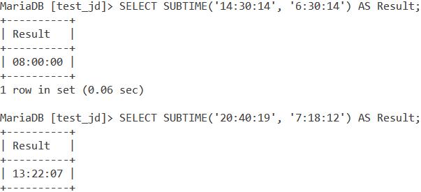 MySQL Subtime Basic Examples