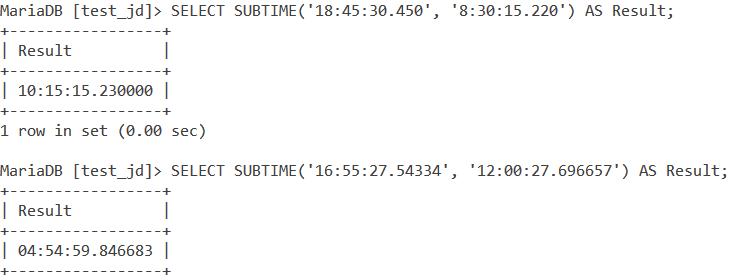 MySQL Subtime Fsp