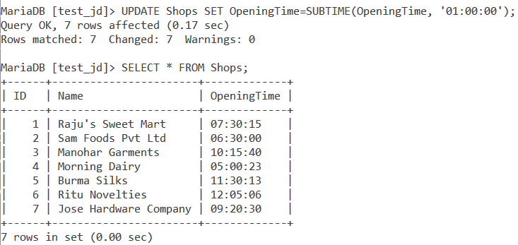 Subtime Table Example