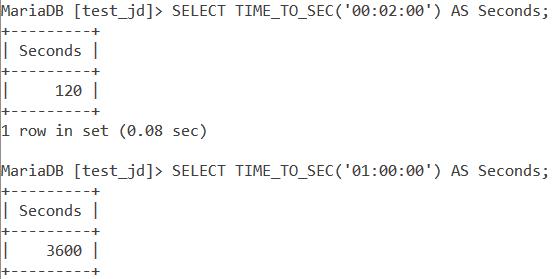 MySQL TIME_TO_SEC Basic Example
