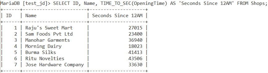 Time To Sec Table Example1