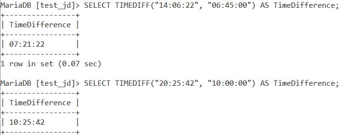 MySQL TIMEDIFF Basic Example