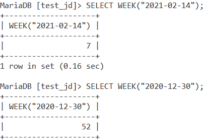 MySQL WEEK Basic Example