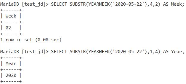 MySQL YEARWEEK Substr