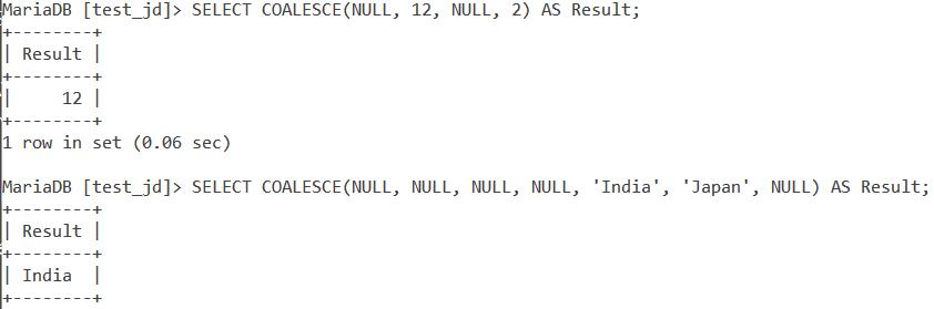 MySQL COALESCE Basic Example
