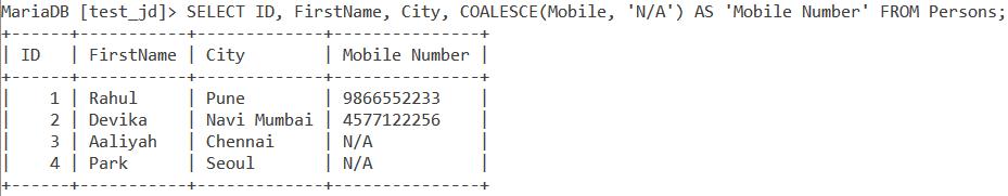 Coalesce Handling Null