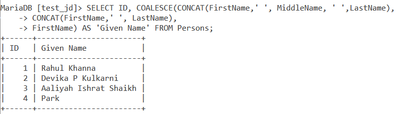 Coalesce Table Example Name