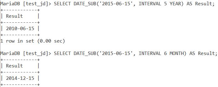 MySQL Date Sub Basic Example