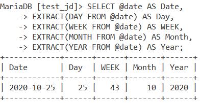 MySQL EXTRACT Date Values