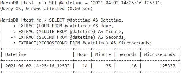 MySQL EXTRACT Time Values