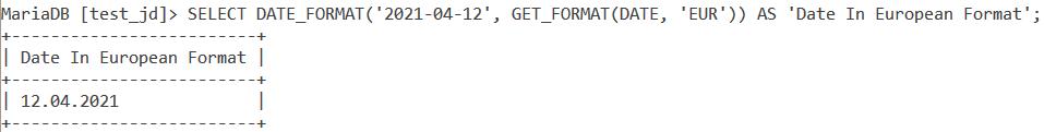 MySQL Get Format Date Example 2