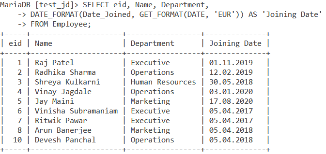 Get Format Employee Table Example
