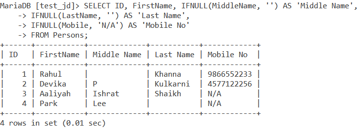 Ifnull Table Example