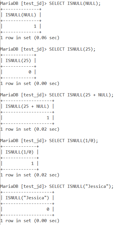 MySQL ISNULL Basic Examples