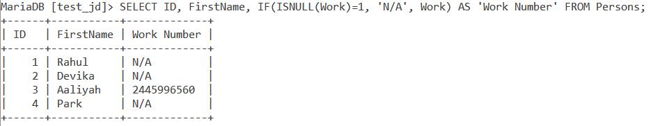 Isnull Table Example