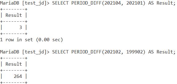 MySQL PERIOD_DIFF Basic Examples