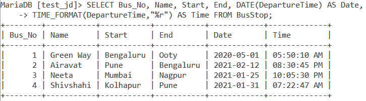 Time Format Table Example